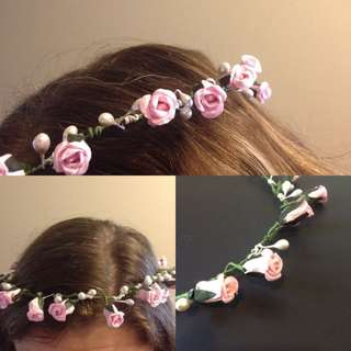 Pink Flower Headpiece With Detachable Veil