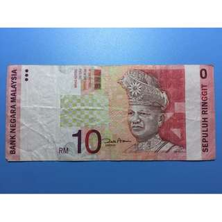 Misprinted RM10 Notes