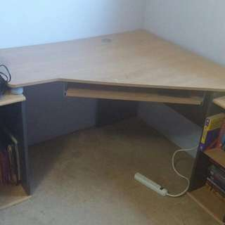 3piece L-table With Desk, Cabinet, CD Compartment And Bookshelf