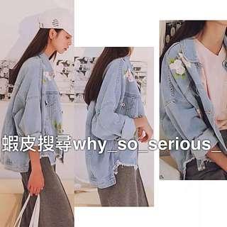 🚫預購🚫美翻韓版玫瑰花印花下擺抽鬚不規則寬鬆牛仔外套
