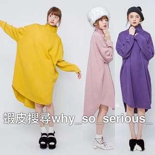 🚫預購🚫日本品牌merry jenny3色夢幻日系甜美純色高領百搭寬鬆前短後長長版毛衣洋裝