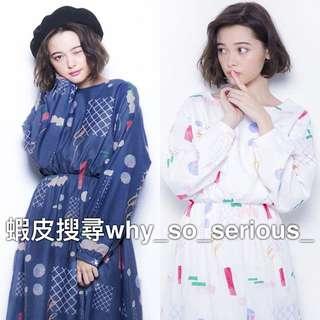 🚫預購🚫日本品牌merry jenny2色夢幻日系甜美幾何圖案繽紛長袖縮腰顯瘦連身洋裝長袖洋裝