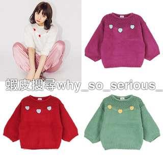 🚫預購🚫日本品牌merry jenny4色夢幻日系甜美手鉤立體愛心簍空燈籠袖毛衣上衣
