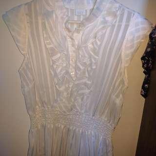 White Silky Cap-sleeve Dress Shirt - XL