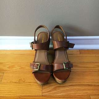 Brown Wedge Sandals by Mossimo Supply Co. Size 9