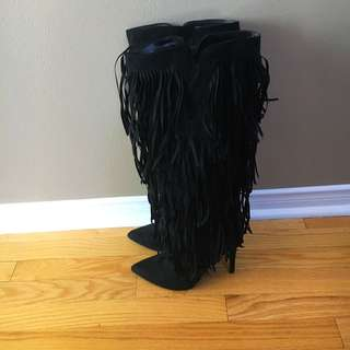 Black Fringe Stiletto Knee High Boots by Justfab