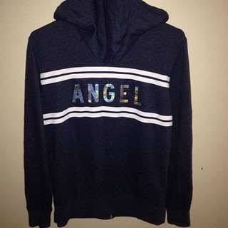 VICTORIA SECERT Heather Navy Blue Holographic 'Angel' Sweater