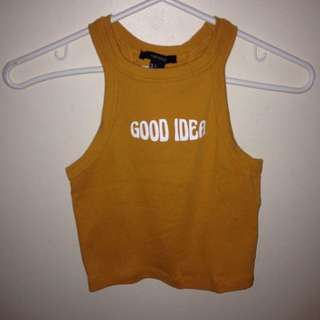 FOREVER 21 Yellow 'Good Idea' Semi Cropped Racerback Tank