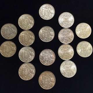 23x Australian 1966 Round 50 Cent Coins Silver
