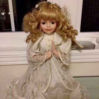 Kneeling Angel Porcelain Doll