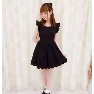 日牌 黑色洋裝 花邊蕾絲 可愛 甜美