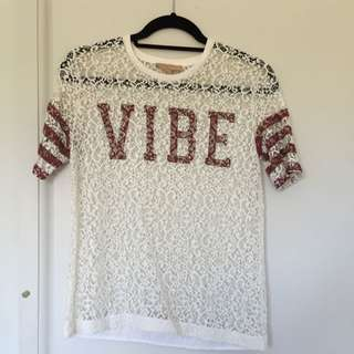 Zara Lace Jersey Type Top