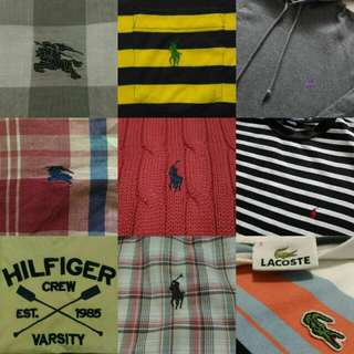 Polo By Ralph Lauren , Burberry , Lacoste , Tommy Hilfiger