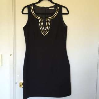 Black Dress With Gold Stud Detail Size 12