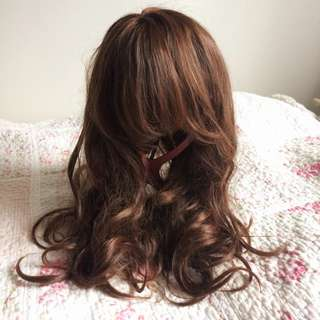 Dark Brown Wig Highlights + FREE Wig Stand + 2 HAIR Rollers