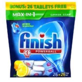 Finish Powerball Max in 1 Lemon Dishwasher Tablets Bonus Pack (52 Pack)