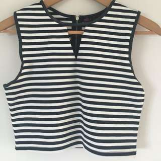 Black And White Striped Crop- Ally Fashion