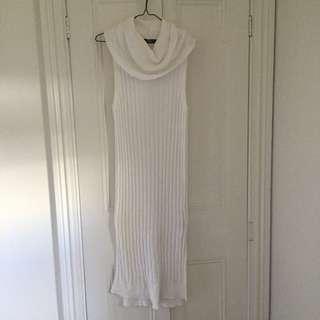 White Ribbed Knit Dress