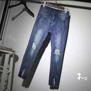 破洞褲 東大門firefly 直筒膝蓋磨破牛仔褲