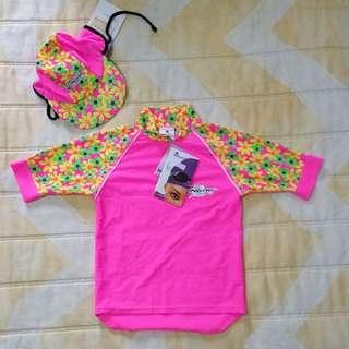 [PROMO] BN Stingray Kids' S/S Shirt + Cap (Daisy Pink)