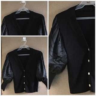 Black Puff Shoulder Blouse