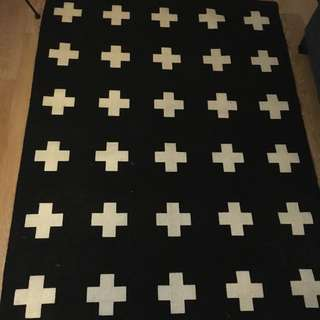 Black And White Cross Rug