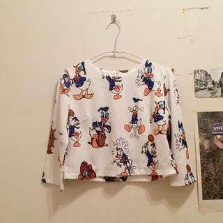 Disney唐老鴨短版上衣crop top(套裝上半身)