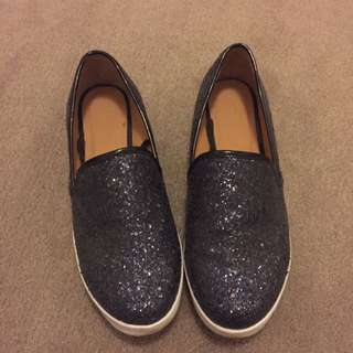 Black Glitter Sneakers - Size 7