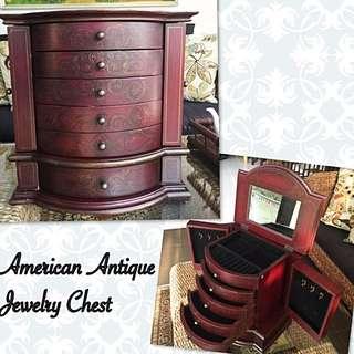 Antique American Luxury Jewelry Chest