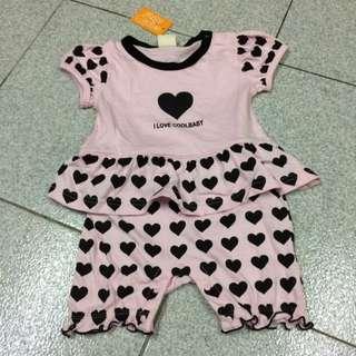 兒童連身衣 粉紅 愛心
