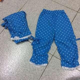 兒童藍色點點內搭褲 蝴蝶結 蕾絲邊