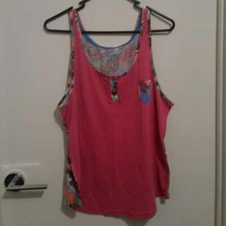 Pink Patterned Mambo Singlet Size 16