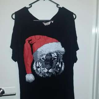 Black Christmas Tiger Shirt Millers Size 14