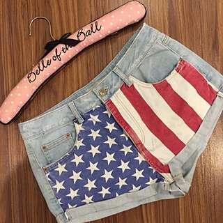 Topshop Moto Americana Denim Shorts