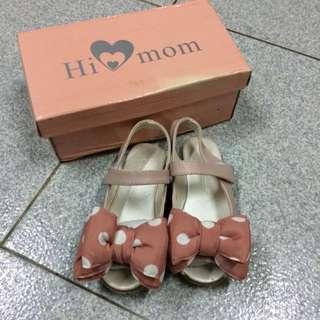 兒童涼鞋 氣質 粉紅點點蝴蝶結