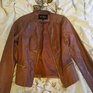 Size S Guess Brown Tan Leather Jacket