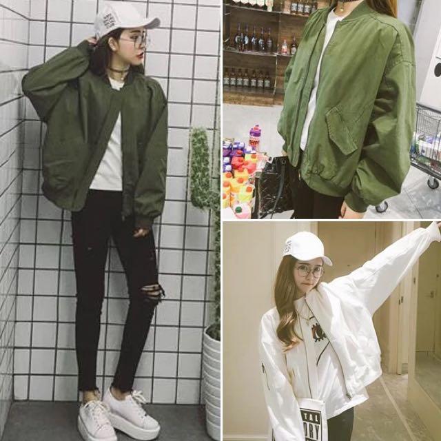 韓版純色百搭寬鬆棒球外套