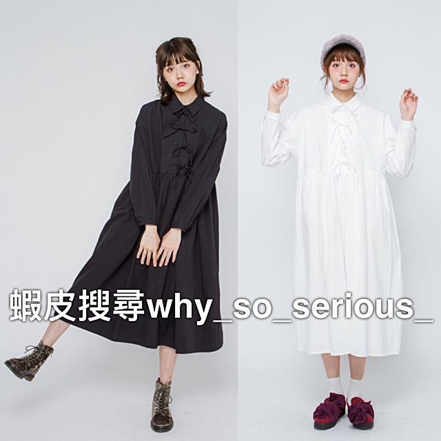 🚫預購🚫日本品牌merry jenny2色夢幻日系甜美學院風胸前蝴蝶結設計襯衫領寬鬆洋裝