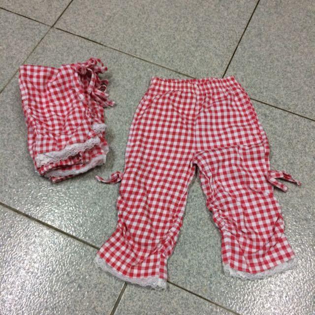 兒童紅白格紋內搭褲