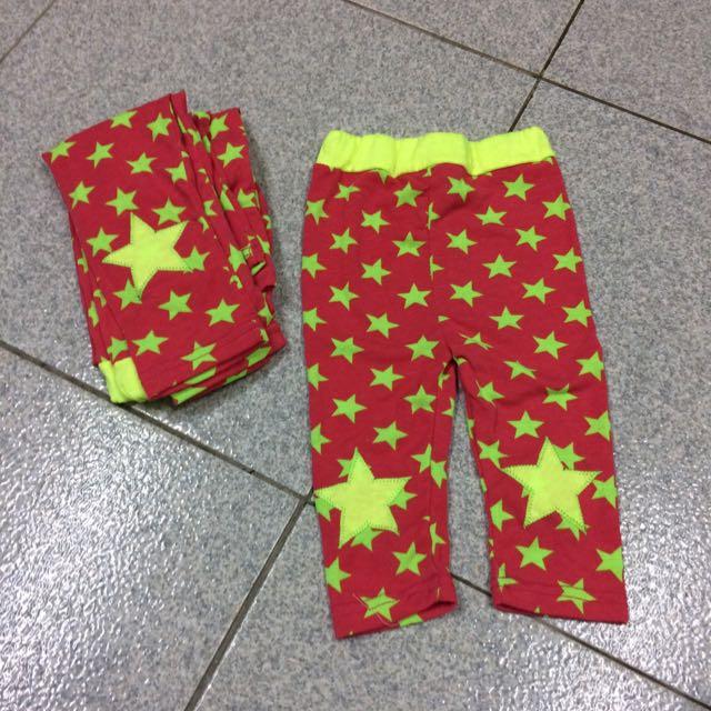 兒童內搭褲 紅底黃星星