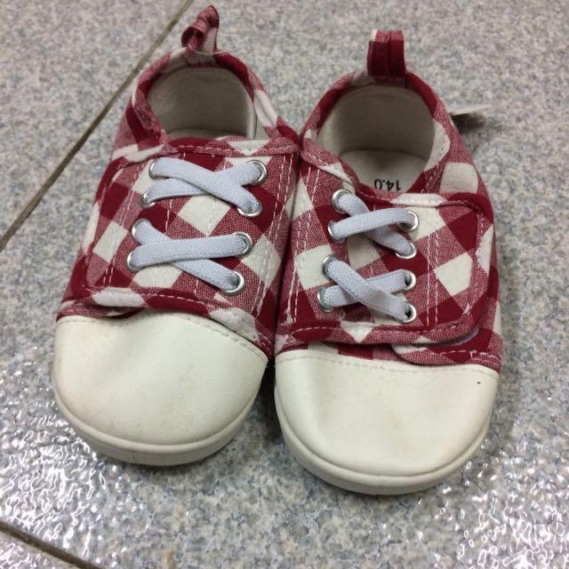 兒童休閒鞋 紅白格紋