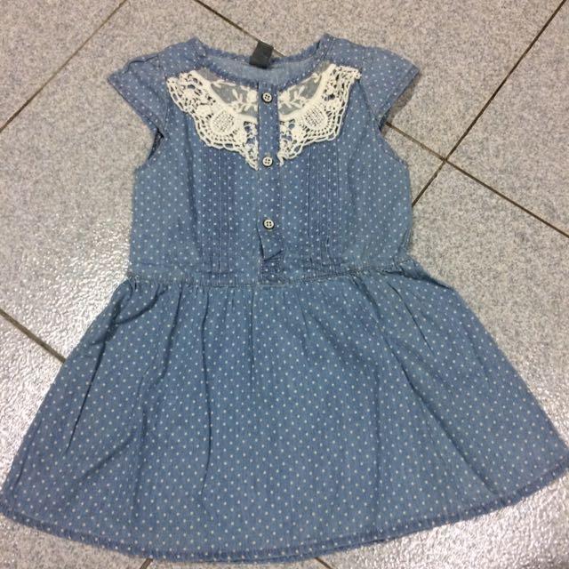 兒童洋裝 氣質點點 藍色