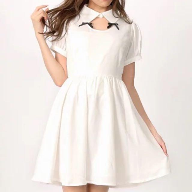 可議價 Ank 洋裝 全新 白色 鏤空 蝴蝶結洋裝