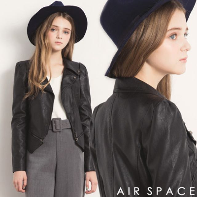 [私人出清]Airspace拉鍊短版騎士皮外套(黑)