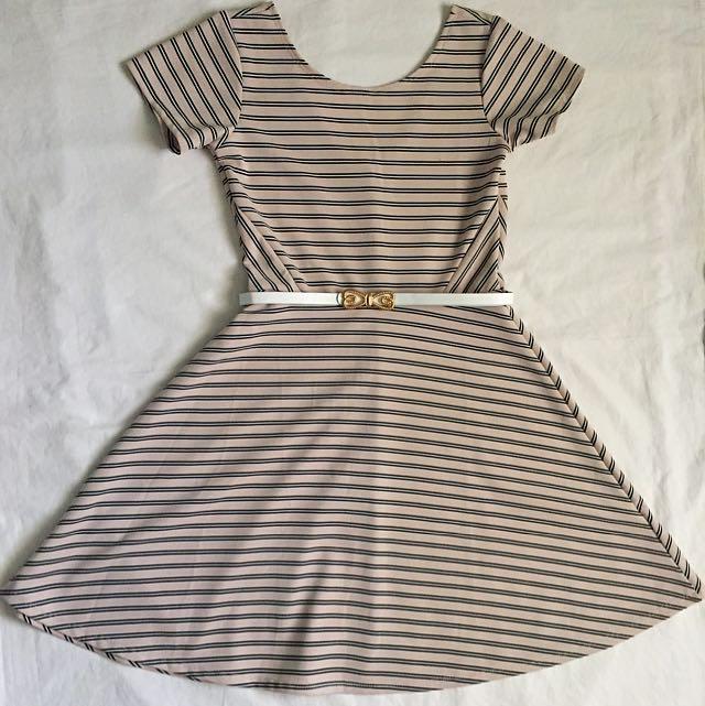 Beige Stripes Dress