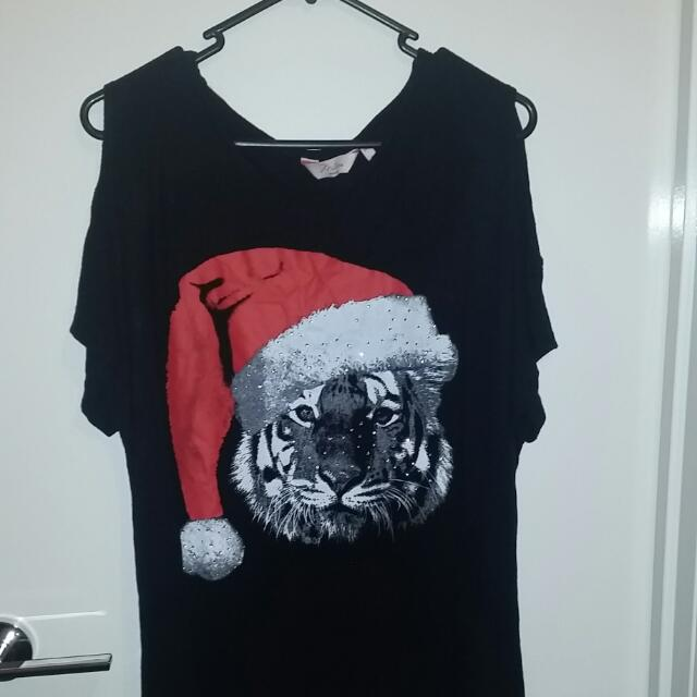 Black Christmas Tiger Shirt Millers Size 14
