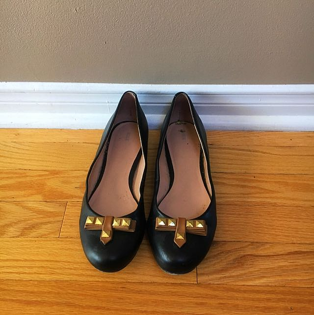 Black Flats With Brown And Gold Detail.  From Winners. Size 9