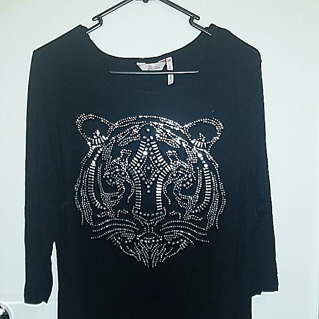 Black Studded Tiger 3 Quater Sleeve Shirt Millers Size 14