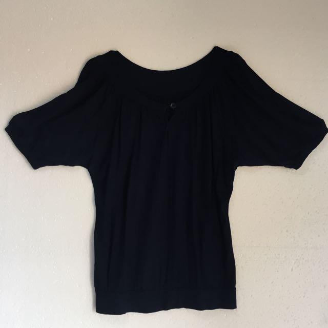 Blouse Biru Dongker Free Size Upto Ld104