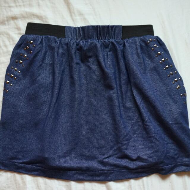 Costa Blanca - Blue Studded Skirt